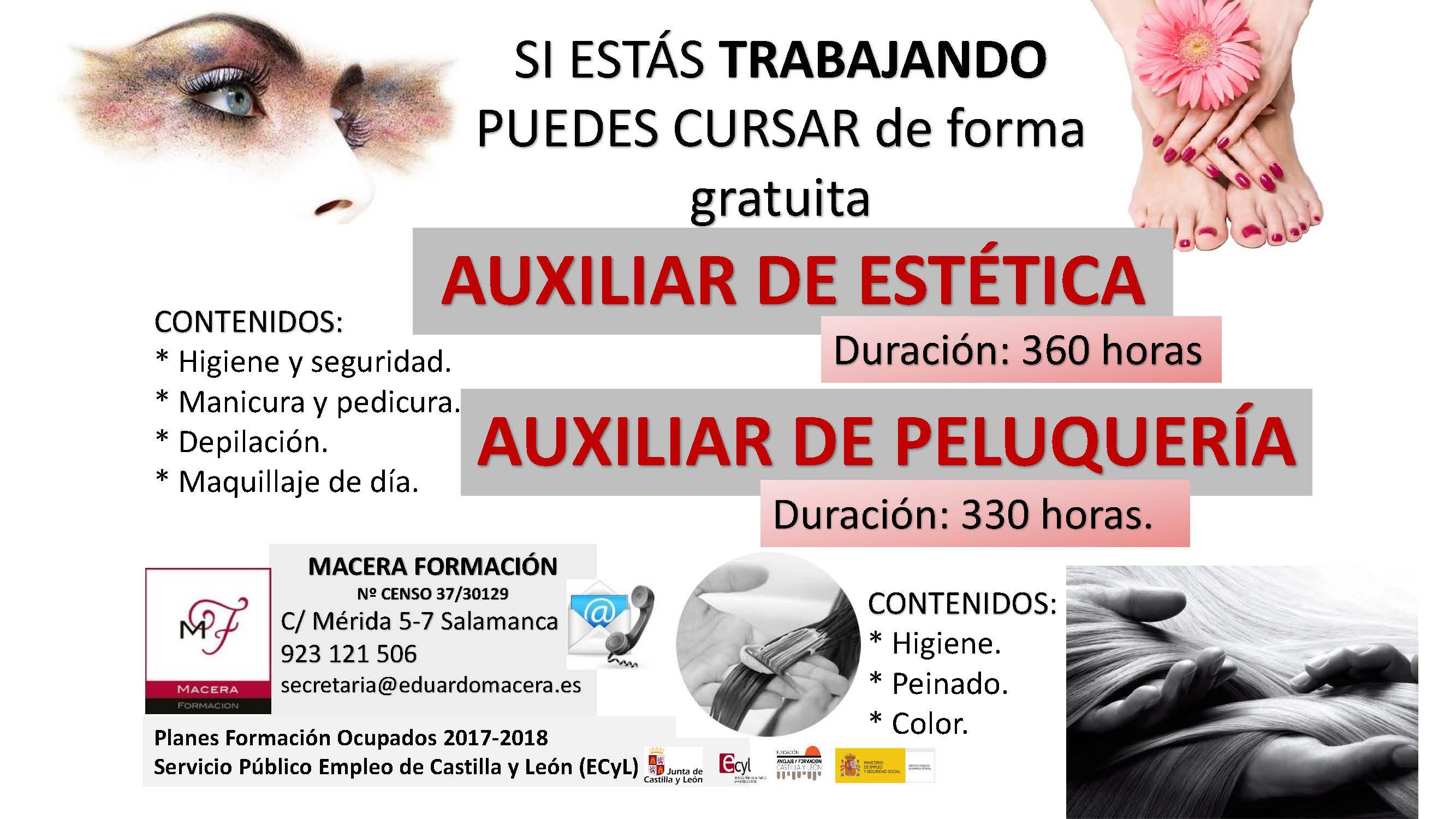 CURSOS DE AUXILIAR DE ESTÉTICA Y AUXILIAR DE PELUQUERÍA PARA TRABAJADORES OCUPADOS